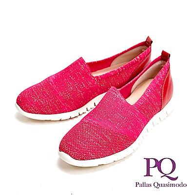 PQ MIT異材質透氣彈力休閒 女鞋-桃紅(另有白)