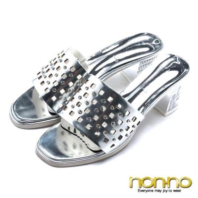 nonno 摩登女伶 水鑽寬版鏤空造型粗跟涼拖鞋-銀