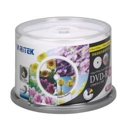 錸德 Ritek DVD-R 4.7GB 16X 頂級鏡面相片防水可列印式光 50P布丁桶