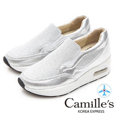 Camille's 韓國空運-正韓製-亮片拼接內增高運動休閒鞋-銀色