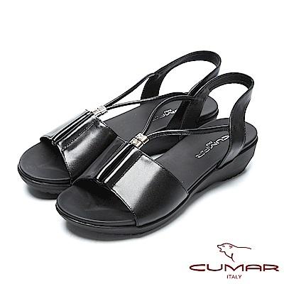 CUMAR舒適底台-水鑽點綴調整式真皮涼鞋-黑色