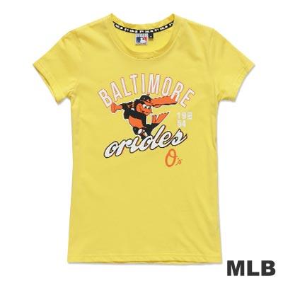 MLB-巴爾的摩金鶯隊揮棒造型短袖T恤-淺黃(女)
