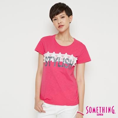 SOMETHING 蕾絲花釘圓領T恤-女-桃紅色