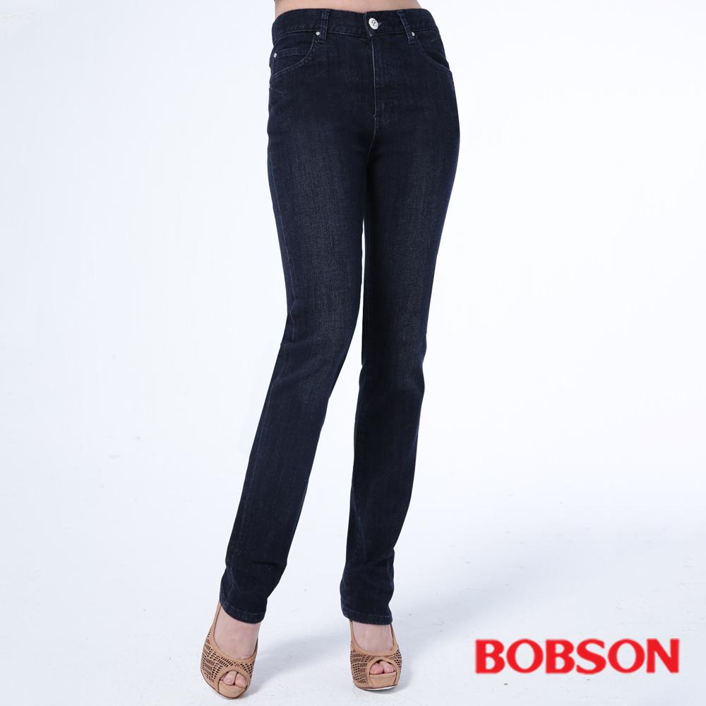 BOBSON   女款保暖高腰膠原蛋白直筒褲-藍色