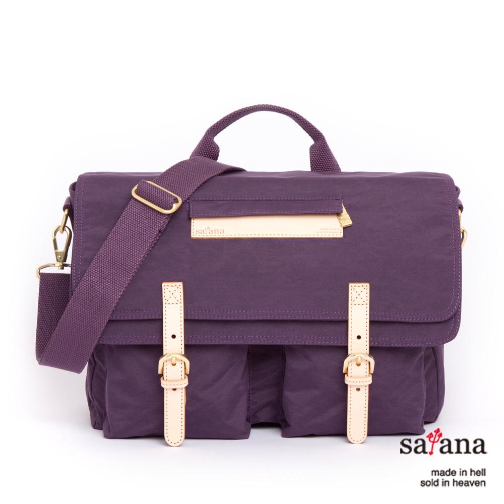 satana - 雙蓋式雙格間斜揹包 - 紫色