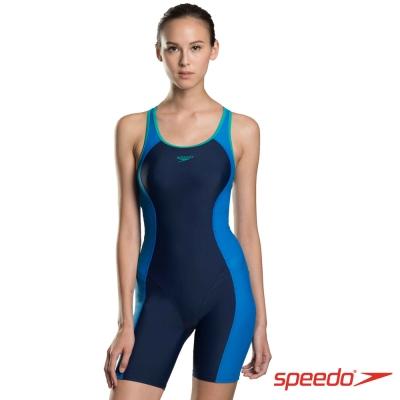 SPEEDO 女 運動 連身 平口泳裝 Splice Legsuit 海軍藍