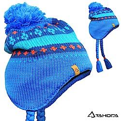 TAKODA 滑雪風格手工毛球麻花辮羊毛混紡粗針織毛線帽 (藍色)