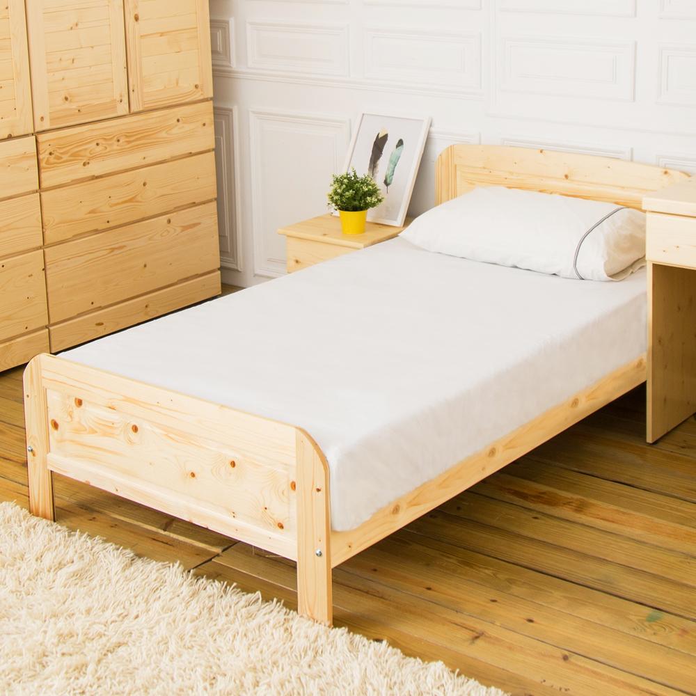 時尚屋 千鶴3.5尺白松木加大單人床