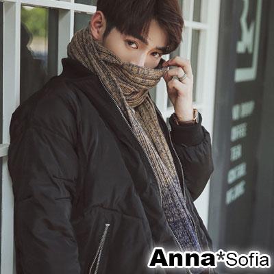 AnnaSofia 漸層混色織飾牌 毛線織披肩圍巾(黃駝藍系)