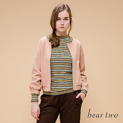 beartwo 彩色彈性羅紋針織上衣(三色)
