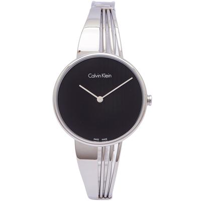 CK Calvin Klein都會時尚女性手錶(K6S2N111)-黑面X銀色/34mm