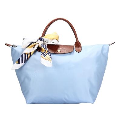 Longchamp 折疊中型水餃包(短提把/薄霧藍)