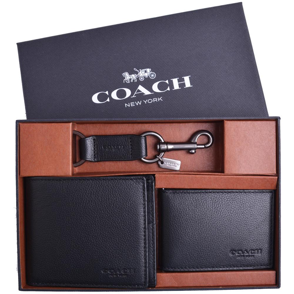 COACH 素免防刮皮革短夾/卡夾/鑰匙圈三件禮盒組-黑(附原廠禮盒)COACH