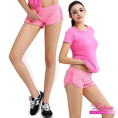 運動褲 糖霜馬卡龍立體剪裁後口袋運動短褲-粉紅 LOTUS
