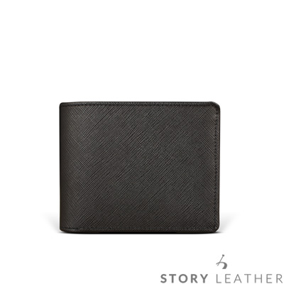 STORYLEATHER - 牛皮短夾 90491-A30 十字紋黑現貨