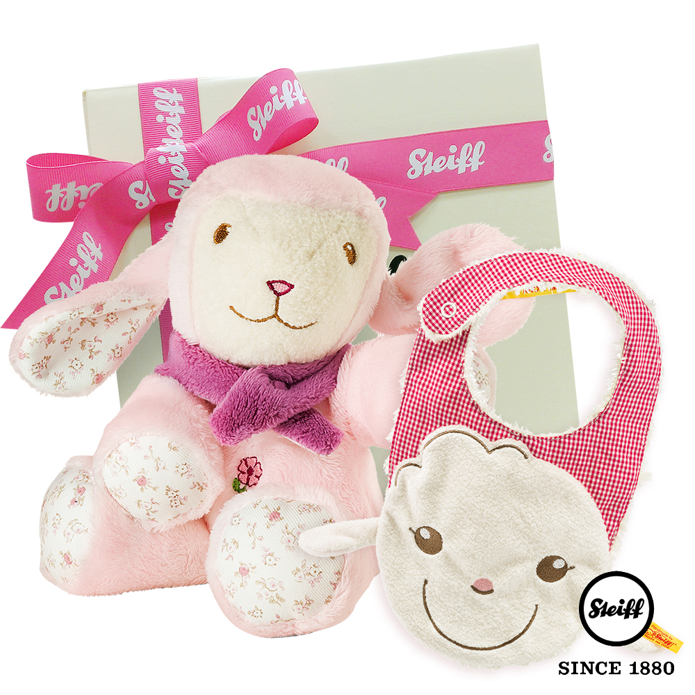 STEIFF德國金耳釦泰迪熊 - 玩偶+圍兜 粉紅棉羊 (寶寶禮盒)