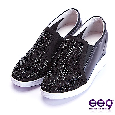 ee9 璀璨迷人進口牛皮鑲嵌亮鑽內增高休閒鞋 黑色