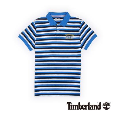 Timberland-男款藍色條紋燙印字母短袖Polo衫