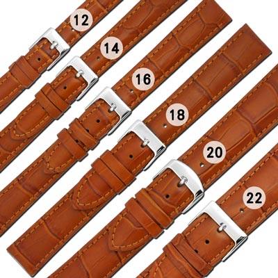 Watchband / 各品牌通用柔軟壓紋真皮錶帶-淺棕色