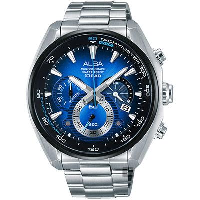 ALBA 異想空間三眼計時腕錶(AU2185X1)-藍/45mm