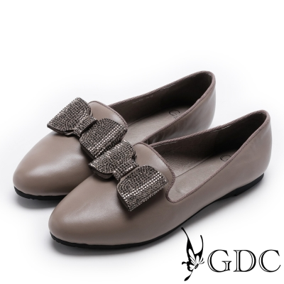 GDC-都會時尚大方蝴蝶結尖頭平底鞋-卡其色