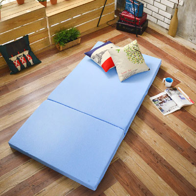 Saint Rose 台灣製 單人8公分吸濕透氣蜂巢式三折床墊組-藍