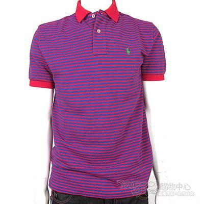 Ralph Lauren 雙色細條紋POLO男衫(紅紫)