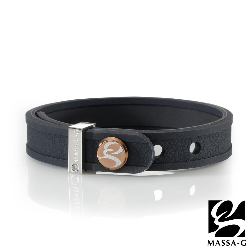 MASSA-G X ONLY U唯你健康鍺鈦手環-品牌革紋(黑)