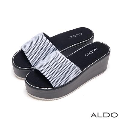 ALDO-簡約風華雙色QQ網眼鞋面厚底涼鞋-典雅白色