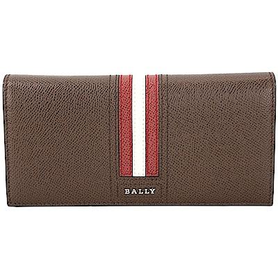 BALLY TALIRO 防刮牛皮條紋飾對折長夾(棕色)