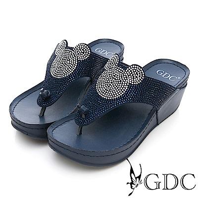 GDC-真皮水鑽趣味米奇厚底夾腳拖-藍色