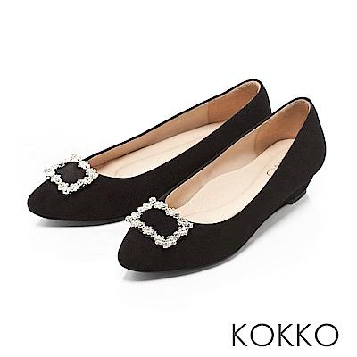 KOKKO- 漫舞春意花鑽尖頭楔形跟鞋 - 貴氣黑