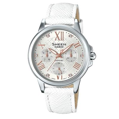 SHEEN耀眼風采羅馬數字時刻藍寶石鏡面皮帶腕錶(SHE-3511L-7)白面X白40mm
