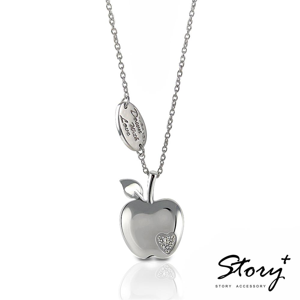 STORY故事銀飾-就想賴著你 平果戀 白鑽款 純銀項鍊