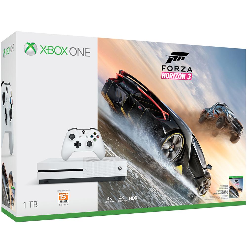 Xbox One S 1TB極限競速地平線3同捆組軟體拆封無鑑賞期