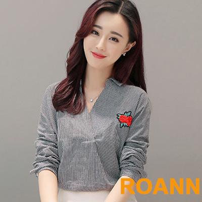 V領繡花落肩長袖襯衫 (共二色)-ROANN