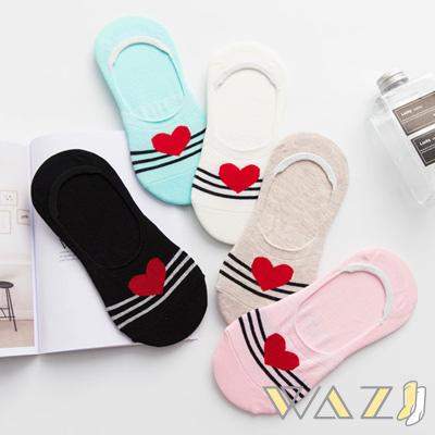 Wazi-學院風小愛心防滑隱形襪 (1組五入)