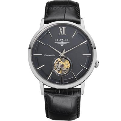 ELYSEE Picus 小鏤空經典機械錶-灰/41mm