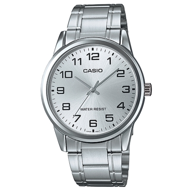 CASIO 經典復古時尚簡約指針紳士腕錶-銀白色(MTP-V001D-7B)/40mm
