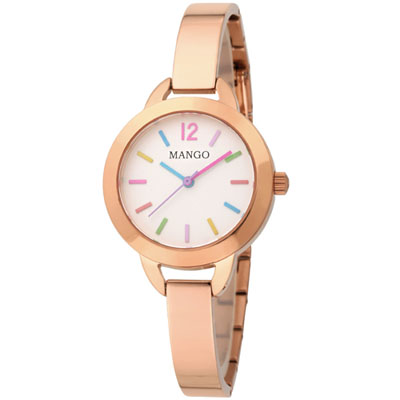 MANGO 繽紛絢麗不鏽鋼時尚腕錶-玫瑰金/30mm