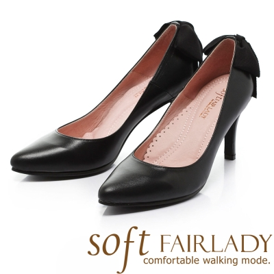 Fair Lady Soft芯太軟 曲線修飾後蝴蝶結尖頭高跟鞋 黑