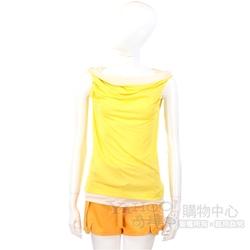 i BLUES 黃x膚色拼接設計無袖上衣