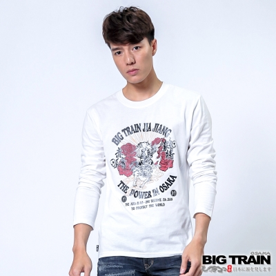 BIG TRAIN 唐獅牡丹家將TEE-男-白色