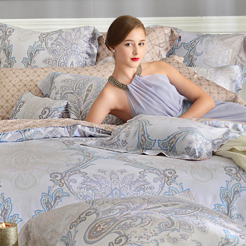 義大利La Belle 聖羅彌亞 加大天絲四件式防蹣抗菌舖棉兩用被床包組