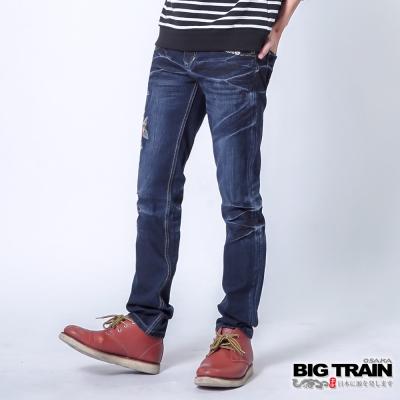 BIG-TRAIN-赤青繁花小直筒-男-深藍