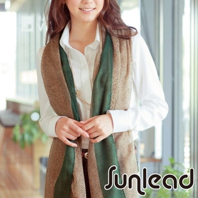 Sunlead 法式優雅撞色寬版薄紗花紋長方巾/披肩/圍巾