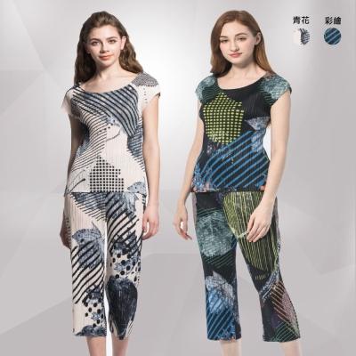 玩美衣櫃-時尚百搭壓摺褲裝套裝-共二色