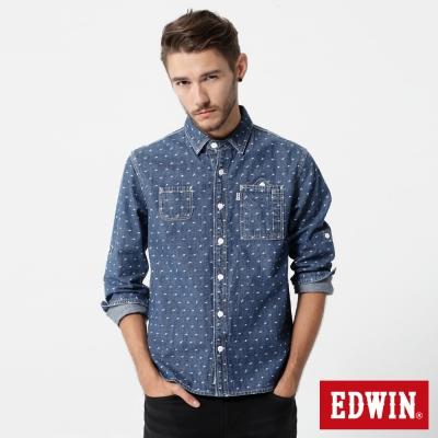 EDWIN 滿版閃電印花長袖牛仔襯衫-男-拔洗藍