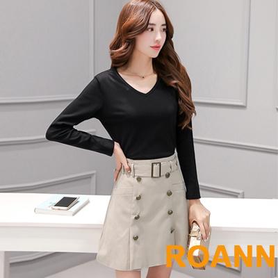 V領T恤-大腰帶直排扣短裙兩件套-黑色-ROANN