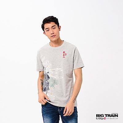 BIG TRAIN 魚躍清海波圓領短袖-男-麻灰